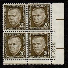 Scott 1289 Plate Block of four 20 cent George C Marshall MNH L3