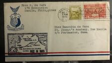 1935 Manila Filippine First Flight Posta Aerea Cover Ffc To Guam Isola Marchio