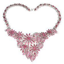 """Special Item Natural Rich Red Ruby 925 Sterling Silver Flower BIB Necklace 17"""""""