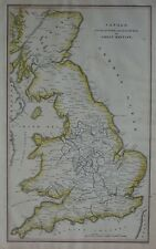 Original 1824 Engraved Map Canals Railways Great Britain England Wales Scotland
