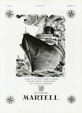 """""""COGNAC MARTELL / NORMANDIE"""" Annonce originale entoilée L'ILLUSTRATION 16/4/1938"""