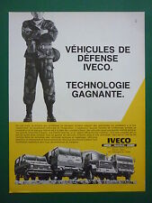 9/1986 PUB IVECO UNIC MAGIRUS FIAT CAMION MILITAIRE MILITARY TRUCK FRENCH AD