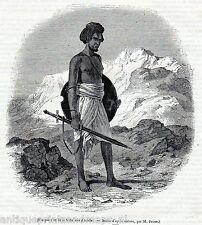 Antique print Ababda people portrait warrior 1845 Ababde