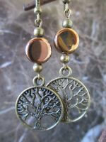 Bronze Wicca Goddess Tree of Life & Bronze Glass Artisan Handcrafted Earrings