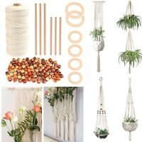 Wood Beans Boho Plant Hangers Knitting Macrame Craft Kit 100m Cord Rope DIY