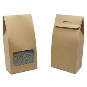 Stand Up Brown Kraft Paper Bags Food Candy Gift Storage Pack Pouches With Window