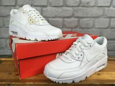 NIKE AIR MAX 90 WHITE FULL LEATHER TRAINERS CHILDRENS BOYS GIRLS LADIES RRP £70