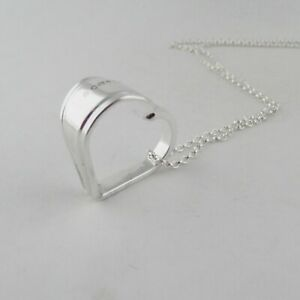 Sterling Silver Floating Heart Spoon Pendant Handmade NHS 2021 Hallmark Necklace