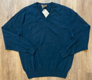 Daniel Cremieux Signature Collection Cashmere Teal Sweater Size L NEW MSRP $130
