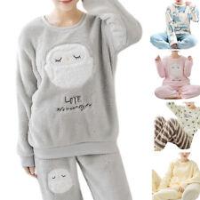 Womens Long Sleeve Pajamas Set Thick Warm Flannel Suit Cartoon Animals Sleepwear