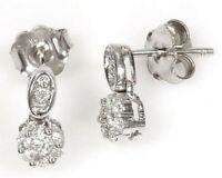 0.35 ctw Natural Diamond 14k White Gold Flower Drop Cluster Stud Earrings 10 MM