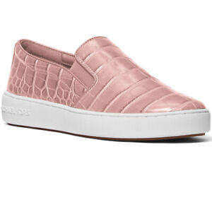 NIB MICHAEL KORS Keaton SlipOn Embossed Croc Shoes Smokey Rose Sneakers Size 5.5