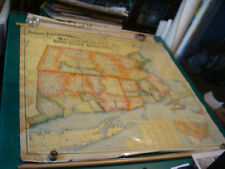 original vintage 1901 Massachusetts Rh Conn Wall Map: national publishing co