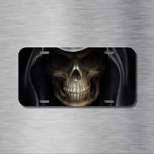 SKULL  License Plate Front Auto Tag Plate Skeleton Zombie Grim Reaper Hood Ghost