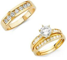 Men Women 14k Solid Yellow Gold 2CT Diamond Trio Wedding Bands Engagement Rings
