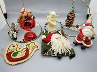 Christmas Ornament Lot Of 8 Santa Reindeer Snowmen Bird 009