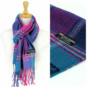 Men And Women Scarf Plaid 100% Cashmere Made Scotland Classic Scarf for Winter