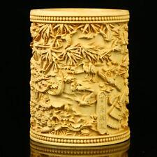 Chinese Boxwood Hand-carved Phoenix & Birds Brush Pot