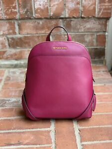 AUTHENTIC MICHAEL KORS EMMY Magenta LEATHER LARGE DOME TOP Backpack NWT $378