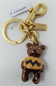 Coach X Peanuts Charlie Brown Bear Bag Charm Key Ring 5398