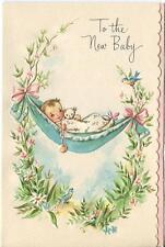 VINTAGE NEW BABY GARDEN FLOWER HAMMOCK RATTLE TEDDY BEAR GREETING ART CARD PRINT