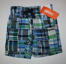 New Gymboree Blue Green Patchwork Plaid Shorts Size 12-18M NWT Outdoor Explorer