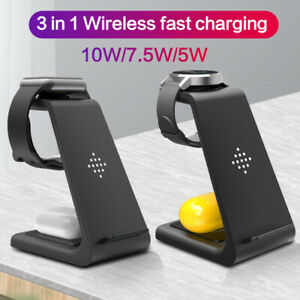 3in1 Wireless Charger For iPhone/Samsung TWS iWatch Charging Stand Dock Pad Qi