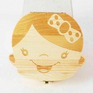 Baby Milk Teeth Keepsake Box Organizer Kids First Tooth Box Storage Child Wooden