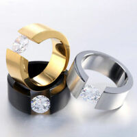 18K Gold Plated CZ Stainless Steel Couple Ring Men/Women Wedding Band Size 6-12