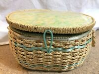 Vintage DRITZ Made in Japan Wicker Sewing Basket - Yellow & Green Satin Lining