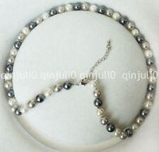 e94e4ce7f30b 8mm Blanco Gris Plata Concha de perla redonda granos collar 18