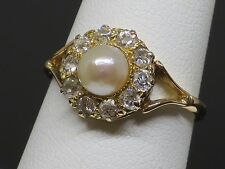 Antique c1910 6mm Natural Pearl and 0.5CT Diamond 18K Gold Ring, 2.9g, size 7