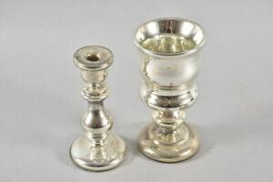 f92w79- 2x Bauernsilber, Kerzenständer und Becher, 19./20.Jh.
