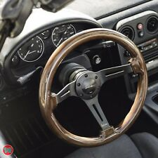 "VIILANTE 2"" DEEP 6-HOLE STEERING WHEEL **WALNUT WOOD GRAIN** SATIN BLACK MOMO"