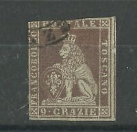 Italy Italian States Tuscany 1851 Toscano V Early 9c Brown Imperf Lightly Used
