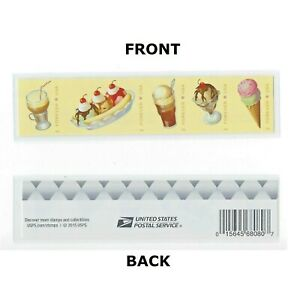 *Mint USPS Forever Stamps. Soda Fountain, Ice Cream. 2016. Strip of 5.
