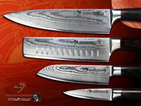 New Japanese Damascus Vg10 Steel Chef's Nakiri Santoku Fruit Paring Knife Set
