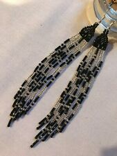 Native American Style Cascading 'Black & Silver Feathers' Beaded Earrings