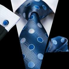 USA Solid Blue Mens Tie Silk Polka Dots Necktie Hanky Cufflinks Business