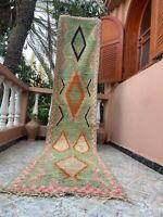 "Boujad Moroccan Handmade Vintage Runner 2'3""x11'3"" Geometric Green Rug"