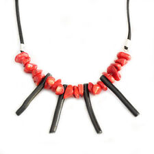 Natural Red Coral Chip Beads and Black Coral Branch Shape Pendant Necklace