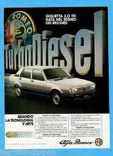 QUATTROR983-PUBBLICITA'/ADVERTISING-1983- ALFA ROMEO GIULIETTA 2.0 TD
