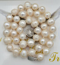 """HUGE 18""""10-11MM SOUTH SEA WHITE Thread CREAM PEARL NECKLACE VERY GOOD LUSTER"""