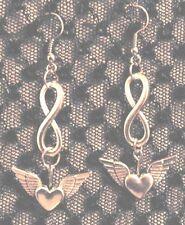 Infinity Valentine Heart W/ Wings Dangle Silver-Tone Earrings