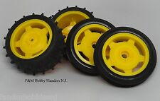 New Tamiya DT-02 Holiday Buggy 2010 Yellow Rim Wheel and Tire Set, Front & Rear
