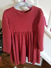Indigo By Marks And Spencer Girls Red Spotted Long Sleeved Dress Age 4-5 Years