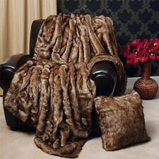 Faux Fur Blanket Queen Size Throw Artificial Coyote Large 60 x 84 Soft Warm Cozy