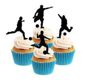 Novelty Football Silhouette Mix 12 Edible Stand Up wafer paper cake toppers