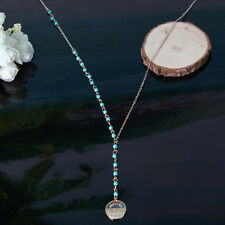 Sale Jewelry Pendant Necklace Long Chain Small Turquoise Gold/Silver Plated