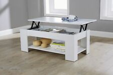 Modern Lift Up Top Coffee Table Storage Area Shelf Occasional Lap Top White